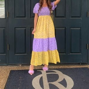 Asos purple/yellow shirred maxi dress